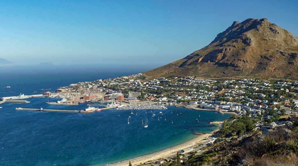 A panoramic view of Simonstown while house sitting in South Africa