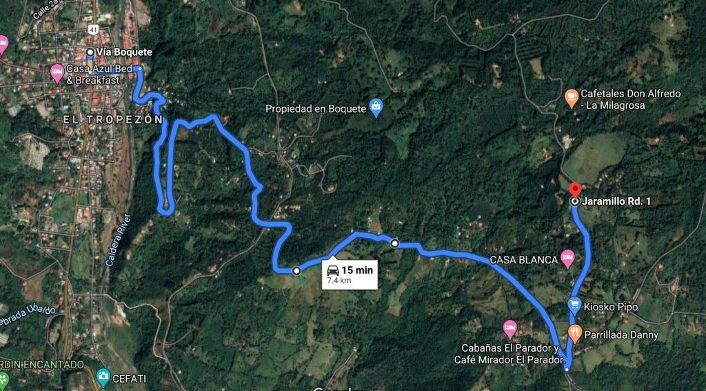 Artillery Hill, Cerro La Artilleria, map Boquete, Panama, hiking, trail
