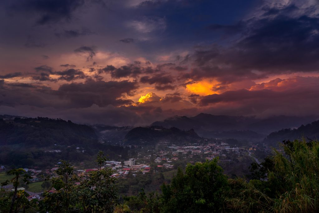 Sunset in Beautiful Boquete, Panama during Quarantine in Panama for Covid-19