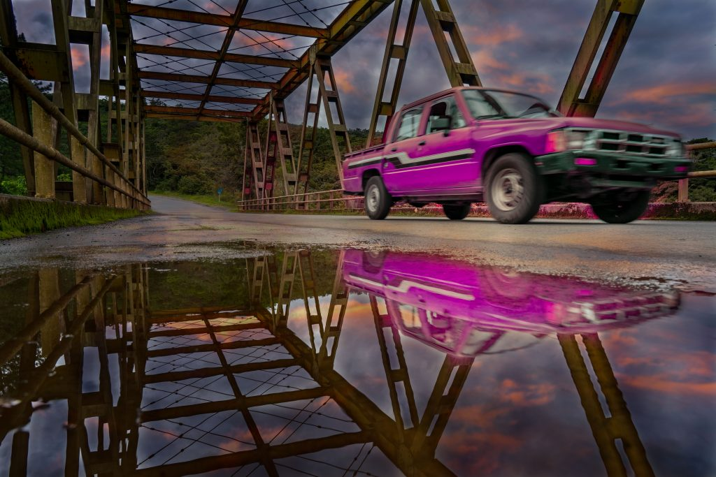 Wilson Bridge, Boquete, Panama, bridge, truck
