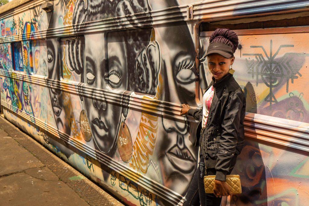 old train, street art, graffiti, Nairobi, Kenya