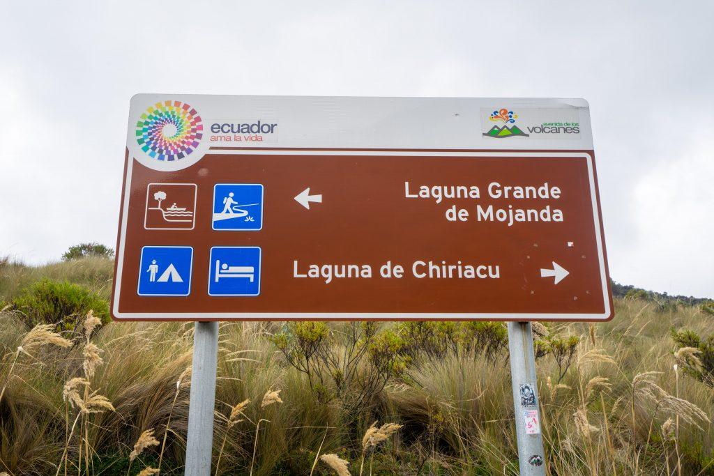 Laguna de Mojanda, Fuya Fuya, Otavalo, Ecuador, hiking, trail, lake, volcano, sign