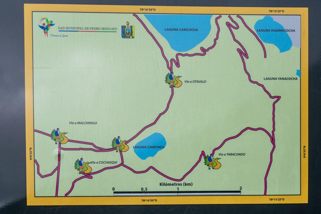 Laguna de Mojanda, Fuya Fuya, Otavalo, Ecuador, hiking, map